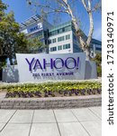 Small photo of Sunnyvale, California, USA - March 29, 2018: Yahoo sign at Yahoo 's headquarters in Sunnyvale, California. Yahoo! is a web services provider that is wholly owned by Verizon Communications through Oath