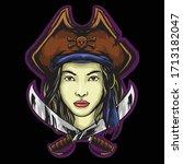 woman pirates logo mascot... | Shutterstock .eps vector #1713182047