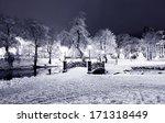 Winter Night Park With Bridge...