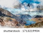 Digital watercolor painting of Epic Autumn Fall landscape of Buttermere and Crummock Water surrounded by mountain peaks in Lake District