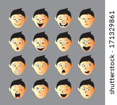 human face expression sets | Shutterstock .eps vector #171329861