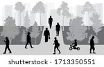people move in park  urban life ... | Shutterstock .eps vector #1713350551
