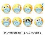 emojis face mask vector... | Shutterstock .eps vector #1713404851