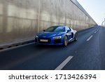 Small photo of ZAGREB, CROATIA - APRIL 23, 2020: New Audi R8 V10 in blue colour on the streets of Zagreb. Audi's sports car. Luxury R8 car.