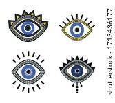 set of isolated blue evil eye... | Shutterstock .eps vector #1713436177