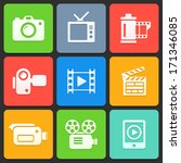 colorful media icons for web... | Shutterstock .eps vector #171346085