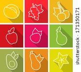 flat design icons. set of fruit....   Shutterstock .eps vector #171350171