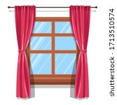 windows with curtains  blinds... | Shutterstock .eps vector #1713510574