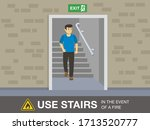 fire safety activity. young man ... | Shutterstock .eps vector #1713520777