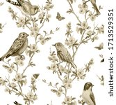 Seamless Pattern Of Birds And...