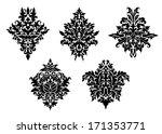 set of five different foliate... | Shutterstock .eps vector #171353771