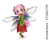 Cute toon fairy posing on a white background. Part of a little fairy series. - stock photo