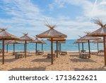 Umbrellas In Sunny Golden Sands ...