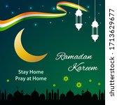 ramadan kareem background with... | Shutterstock .eps vector #1713629677
