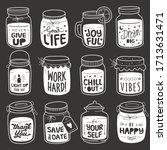set of positive quote in jar... | Shutterstock .eps vector #1713631471