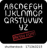 messy all caps font set   with... | Shutterstock .eps vector #171363215