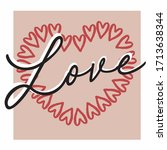 love and heart slogan  for t... | Shutterstock .eps vector #1713638344