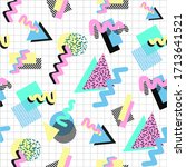 seamless pattern in 80s style....   Shutterstock .eps vector #1713641521