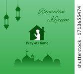 ramadan kareem background with... | Shutterstock .eps vector #1713655474