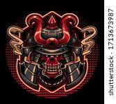samurai skull head mascot logo | Shutterstock .eps vector #1713673987