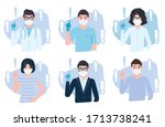 people pointing finger up...   Shutterstock .eps vector #1713738241