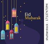 abstract eid mubarak decorative ... | Shutterstock .eps vector #1713747094