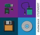 Vector Set Of Disks  Floppy...