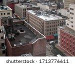 manhattan building rooftops of... | Shutterstock . vector #1713776611