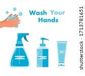 gel alcohol spray alcohol... | Shutterstock .eps vector #1713781651
