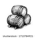 three wooden barrels for wine...   Shutterstock .eps vector #1713784921