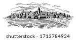 large village with fields on...   Shutterstock .eps vector #1713784924