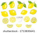 fresh lemon fruits with green...   Shutterstock .eps vector #1713830641