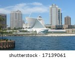 A picture of Milwaukee's skyline from across lake - stock photo