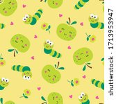 cute apples and caterpillars... | Shutterstock .eps vector #1713953947