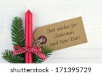red candle  fire branch and... | Shutterstock . vector #171395729