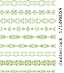 Set Of Green Floral Borders