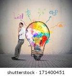 businessman thinks of a new... | Shutterstock . vector #171400451