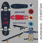 set of skateboards and...   Shutterstock .eps vector #1714037164