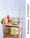 bathroom accessories on bamboo... | Shutterstock . vector #171410627