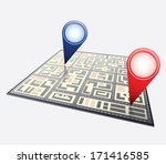city map with navigation icons | Shutterstock .eps vector #171416585