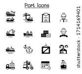 set of marine port related... | Shutterstock .eps vector #1714169401