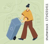 woman with blue residual waste... | Shutterstock .eps vector #1714231411