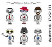 vector hipster robots | Shutterstock .eps vector #171424961