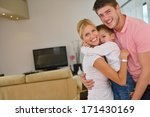happy young family with kids in ... | Shutterstock . vector #171430169