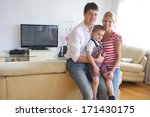 happy young family with kids in ... | Shutterstock . vector #171430175