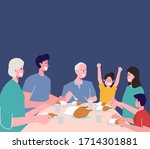 suhoor and iftar party with... | Shutterstock .eps vector #1714301881