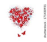 isolated heart made of flower... | Shutterstock .eps vector #171430931