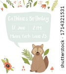 baby birthday invitation card... | Shutterstock .eps vector #1714321531