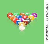 set of 3d glossy snooker balls... | Shutterstock .eps vector #1714346071