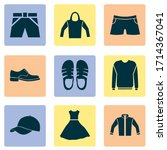 clothes icons set with pullover ...   Shutterstock .eps vector #1714367041